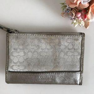 Coach Metallic Silver Coin/Key Bag